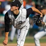 San Francisco Giants star Tim Lincecum throws a pitch for the San Jose Giants in 2006. Photo by Damon Tarver.