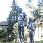A statue commemorating Olympic stars and civil rights icons Tommie Smith and Juan Carlos at SJSU.
