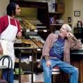 Franco (left, Lance Gardner) has big plans for the donut shop owned by tired radical Arthur (Howard Swain).