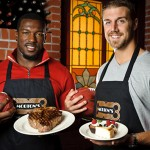 49ers Alex Smith and Patrick Willis trade their uniforms and helmets for plates and aprons on Monday at Morton's.