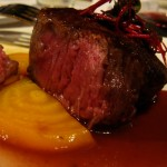 Petit filet with beets in a sour plum gastrique