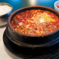 A bubbling bowl of soontofu is a classic Korean dish.