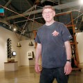 Tony May surveys his 'old tech' constructions at SJICA. His show opens Friday Nov. 12.