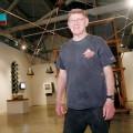 Tony May surveys his 'old tech' constructions at SJICA. His show opens Friday Nov. 12.