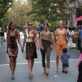 Fashion models taking a stroll on Santana Row, one of San Jose's most walkable places.