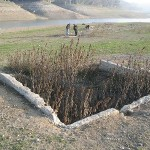 Building foundations from the ghost town of Alma are sometimes revealed under the waters of the Lexington Reservoir.