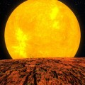 This NASA illustration shows the new planet, Kepler-10b, overlooking its parent star.