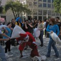 San Jose had its first annual pillow fight, and the feathers were a flying.