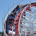 The Giant Dipper, a classic wooden roller coaster at the Santa Cruz Boardwalk, first opened in 1924.