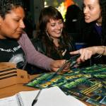 Marydee Moran, Leila McCabe and Aiko Shirakawa, all members of the new coalition South Bay International Womyn's Day Network.