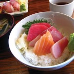 A rainbow of sashimi from the busy kitchen at Dan.