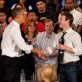 Pres. Barack Obama friended Mark Zuckerberg in Palo Alto yesterday. Jamie Soja photo.
