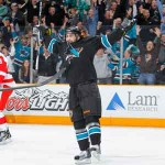 Benn Ferriero rejoiced after scoring the winning goal for the Sharks' last Friday—his 24th birthday.