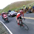 "RadioShack's Chris Horner, 39, pulled ahead of the chase group by 1'15"" and won Stage 4 of the Tour of California 2011."