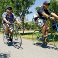 Cyclists Jamie Jimenez and Andrew Moyco commute regularly from downtown San Jose to Los Gatos via the creek trail as a way to stay in shape. (Photo by Felipe Buitrago)