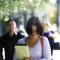 Sara Cole leaving the Santa Clara County Hall of Justice.