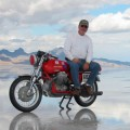 Two-Wheel Deal Last year at Bonneville Salt Flats, Naglee Park resident Alex Balogi set a land speed record for touring bikes on his old Moto Guzzi. (Photo courtesy of H. Alex Balogi)