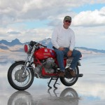 Two-Wheel Deal Last year at Bonneville Salt Flats, Naglee Park resident Alex Balogi set a land speed record for touring bikes on his old Moto Guzzi. (Photo courtesy of H. Alex Balogi)
