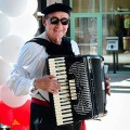 Accordion player at Left Bank Santana Row.