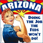 Jan Brewer uses J. Howard Miller's iconic Rosie the Riveter poster to express her immigration sentiments.