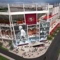 A sketch of the proposed Niners stadium in Santa Clara features a nod to coaching great Bill Walsh.