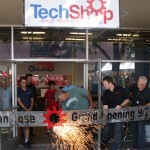Sparks flew at the grand opening of TechShop in downtown San Jose.