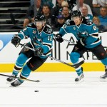 POWER PLAYERS Patrick Marleau (left) and Joe Pavelski push the puck for the Sharks. (Photo by Don Smith)