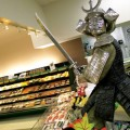 THE ART OF WASABI  A warrior at Marukai Market guards the sashimi.