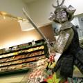 THE ART OF WASABI  A warrior at Marukai Market guards the sashimi.