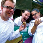 Kipp Berdiansky, Allison Stamm (center)and Devlyn Grech test the latest invention of Project Cupcake.