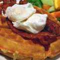 Waffles, bacon and poached eggs: Breakfast is served at Flames.