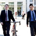 WHEEL AWAY  Volagi co-founders Barley Forsman (left) and Robert Choi walk out of a San Jose courtroom after a jury awarded Specialized Bikes just $1 for its lawsuit against the men. // Courtesy of Stan Olszewski of SOSKIphoto.com.