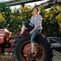 Amoe Frisch takes a break at Veggielution, an urban community farm in East San Jose.