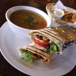 Village Falafel's Armenian fare includes a soujouk wrap with pita chips and lentil soup.