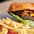 Main Street's Nirvana Burger comes with smoked cheddar and bacon-onion jam.