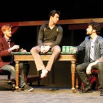 PRINCE OF FOOLS: Hamlet (Thomas Gorrebeeck, center) toys with Rosencrantz and Guildenstern (Adam Magill, right, and Martin Gutfeldt). Great Dane