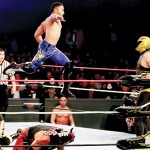 ROCKY ROLLS: Luchador Rocky Romero in action for 'Masked Warriors Live,' which comes to HP Friday.