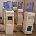 WATERWORLD: Ian Treasure's installation conjures up an army of water coolers.