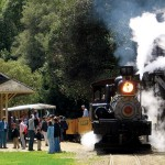 ALL ABOARD: The Santa Cruz Mountains Wine Express blows off some steam on May 20 at Roaring Camp.