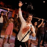 FIRED UP: Andrew Jackson (center, Jonathan Rhys Williams) rallies the troops in 'Bloody Bloody Andrew Jackson' at San Jose Stage Company.