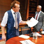 MAD MEN AND A WOMEN: Lawyers Randall King (left) and L. Peter Callender and understudy ZZ Moor bare their deepest feelings in 'Race.'