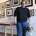 Dan Vado with his dog Homer at SLG Publishing Art Boutiki & Gallery. // Photo by Jennifer Anderson.