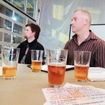 PLANNING AHEAD: Peter Smith (right) and Nathan Johns discuss brewpub ideas.