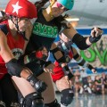 The Silicon Valley Roller Girls in action during a bout. Photo credit: Rodney Chen aka BeakertehMuppet