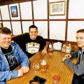 BREW PATROL: Silicon Valley Sudzers members Derek Wolfgram (left), Keith McKay (center) and Tom Eastman met recently at Harry's Hofbrau in San Jose. Photograph by Andy Lee