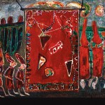 RED HOTS: Jon Serl's 'Chili  Peppers,' oil on board, circa 1990.