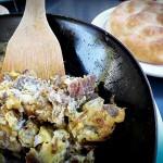 LAMB'N'EGGS  Olympus Caffe & Bakery's Turkish breakfast menu include the kavurmali yumurta, a scramble featuring eggs and succulent chunks of lamb. Photograph by Amy K. Buchanan