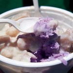 ROOTS ROCK  The root vegetable taro lends a nutty flavor and purple hue to shaved ice at Red Hot Wok. Photograph by Kristine Bautista