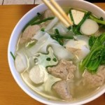 Burma on a plate: Burmese chicken noodle soup, an inviting broth with green mustard, chives, quail egg, tofu, and more. [Image gleaned from Yelp]