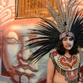 Dancers from Movimiento Cosmico performed an Aztec dance ceremony at the unveiling of the new mural.